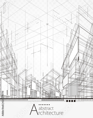 Architecture building perspective lines, modern urban architecture abstract background.   - 223274770