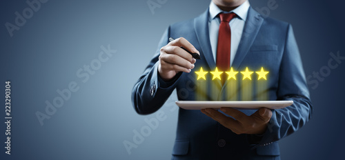 5 Five Stars Rating Quality Review Best Service Business Internet Marketing Concept - 223290304