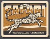 Safari cheetah or leopard hunting vector poster - 223300336