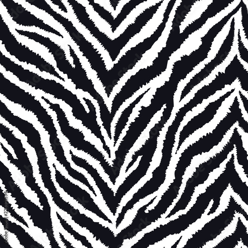 fototapeta na ścianę Seamless pattern with zebra fur print. Vector illustration. Exotic wild animalistic texture.