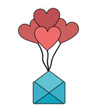 envelope mail with balloons air in heart shape - 223311344