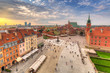 The Royal Castle square in Warsaw city at sunset, Poland. - 223320389