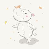 Lovely cute hippo runs with a leaf on the nose. Autumn cartoon animal. - 223323385