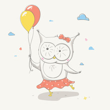 Lovely Cute Small Owl In A Skirt  Polka Dots  Two Colorful Balloons Beautiful Cartoon Animal Sticker