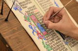Close-up of hand of medieval manuscript scribe - calligraphy - 223326395