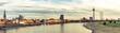 Leinwanddruck Bild - Panorama Blick auf Düsseldorf Altstadt und Rheinufer