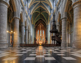 Beautiful view of the interior of the St. Paul's cathedral (Liege cathedral) in Liege, Belgium - 223332535
