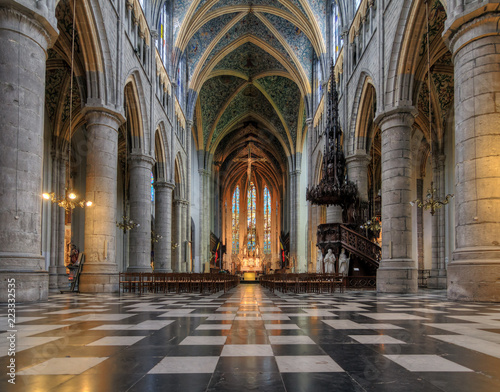 Beautiful view of the interior of the St. Paul's cathedral (Liege cathedral) in Liege, Belgium