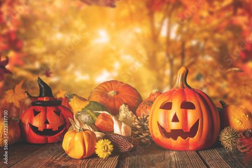 Leinwandbild Motiv Halloween, thanksgiving and autumn backround with copyspace-decoration