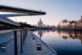 Floating Bridge over Moskva river at sunrise. - 223339975