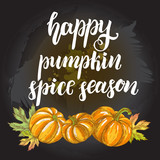Season Background. Greeting card with Ink hand drawn pumpkins. Autumn harvest elements composition with brush calligraphy style lettering. Vector illustration. - 223343338