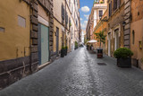 Narrow street in the historical centre of Rome, Italy