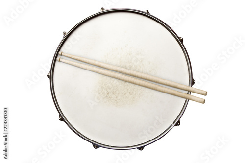 Snare drum with drumsticks top view isolated on white - 223349310