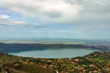 The volcanic lake of Albano in the suburbs of Rome, Italy