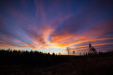 Beautiful vibrant sunset clouds view landscape in finland