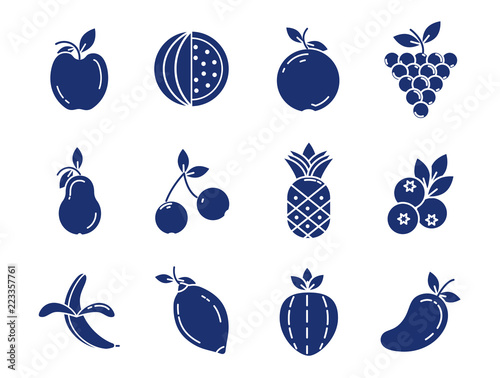 set of fruits and berries on white background - 223357761