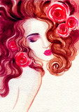 beautiful woman. fashion illustration. watercolor painting - 223359944