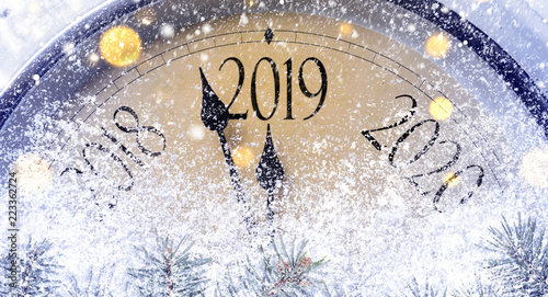 Countdown to midnight. Retro style clock counting last moments before Christmass or New Year 2019. - 223362724
