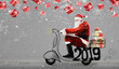 Leinwandbild Motiv Santa Claus on scooter delivering Christmas or New Year 2019 gifts at snowy gray background