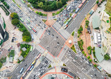 Amazing aerial view of road intersection in Seoul, South Korea - 223365140