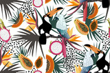 Tropical seamless pattern with cute toucans,parrots,flowers,papayas,dragon fruit and leafs.Vector summer exotic background.Textile texture - 223366728