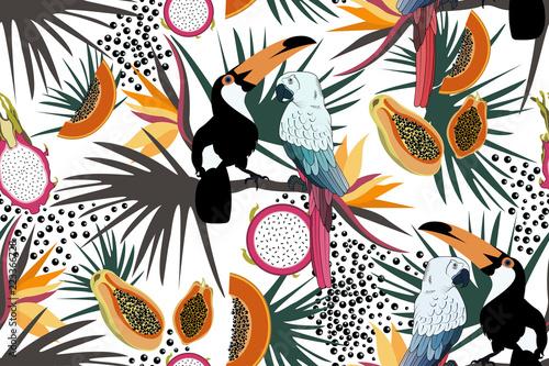 tropikalny-wzor-z-slodkie-tukany-papugi-kwiaty-papaja-smocze-owoce-i-liscie-wektor-lato-egzotyczne-tlo-tekstura-wlokien-tekstylnych