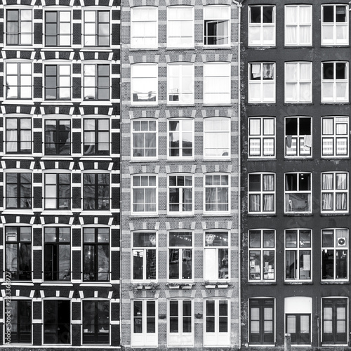Black and white urban Amsterdam windows background - 223366927