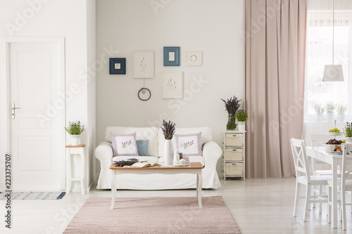 Lavender flowers on table in front of white couch in flat interior with pink drapes and posters. Real photo