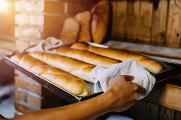Hands Holding Baking Tray With Freshly Baked Baguette