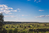 Beautiful green countryside landscape with charming calm blue sky with fluffy white clouds. Horizontal color photography. - 223380181