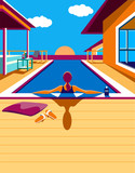 In the pool / Creative conceptual vector. Woman in the pool in the sunlight.