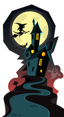 Happy Halloween cozy haunted house isolated on a white background © drawkman