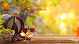 Vines with grapes and old cask on vintage wooden table. - 223390790