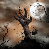 Scary Halloween background with zombie hands. - 223390979