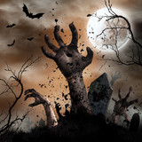 Scary Halloween background with zombie hands.