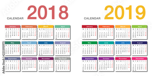 colorful year 2018 and year 2019 calendar horizontal vector design