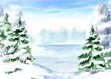"Постер, картина, фотообои ""Winter background, landscape with fir, tree and lake. Watercolor hand drawn illustration"""
