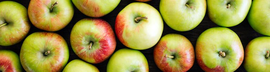Apples, harvest, fresh fruit, close-up, long banner © yakovlevadaria
