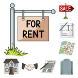 Realtor, agency cartoon icons in set collection for design. Buying and selling real estate vector symbol stock web illustration. - 223409521
