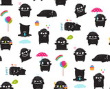 Funny hand drawn monster children pattern design.