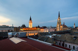 Novi Sad cathedrals and rooftops of downtown city area - 223414560