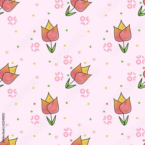 Pattern Con Fiori Su Sfondo Rosa Pastello Buy Photos Ap Images