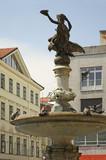 Fountain in front Slovak national theatre in Bratislava. Slovakia