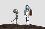 Incontro ravvicinato tra alieno e astronauta - 223425564