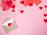 gift in red gift box with bow, smart phone, envelope, card, red heart, pink background, flat lay, copy space, mockup - 223427191