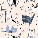 Seamless pattern with hand drawn cats and geometric shapes. Creative childish texture. Great for fabric, textile Vector Illustration - 223428914
