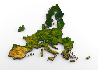 European Union (post-Brexit) 3D Physical Map with Relief