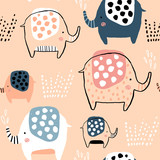 Seamless pattern with cute ink drawn elephants. Creative childish texture. Great for fabric, textile Vector Illustration - 223430359