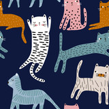 Seamless pattern with cute colorful cats. Creative childish texture. Great for fabric, textile Vector Illustration - 223430906