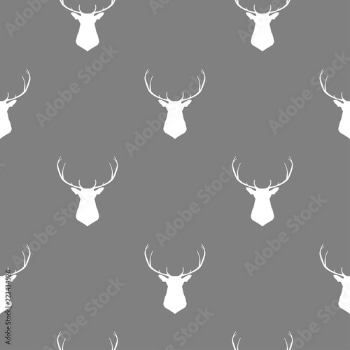 vector-pattern-illustration-with-head-of-deer-in-white-color-with-grey-background